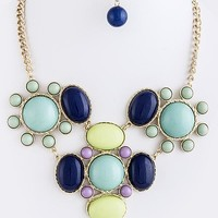 Sami Beaded Cluster Statement Necklace