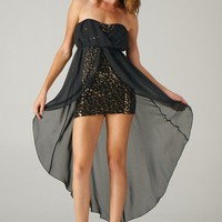 Black Animal Print Strapless Hi-Lo Dress with Sequin Detail