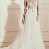 Vintage Wedding Dresses V Neck Capped Sleeves Chiffon Floor Length Luxury Beading Crystal