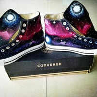 Galaxy Converse Sneakers Hand Painted High by EmilyTamHandPainting