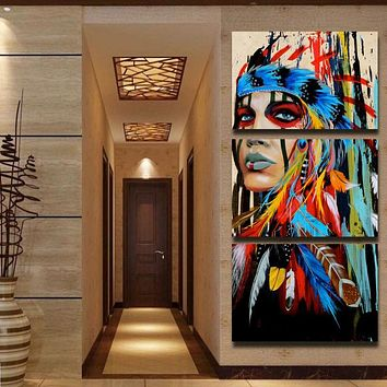 Beauty art Painting Native American Indian Girl Feathered Modern Home Wall Art Decor Canvas Print dropship and custom