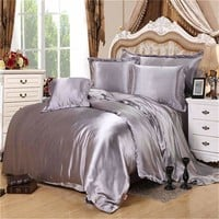 Hot!! Mitation Silk Quilt Red Satin Sheets Cotton Solid Satin Duvet Cover Set King Size