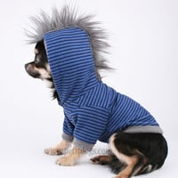 Dog clothes Grey fur Punk Mohawk Blue Stripe Hoodie sz S