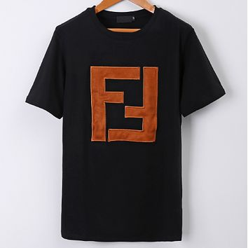 FENDI 2018 summer new double F symmetrical pattern patch embroidery letter short-sleeved T-shirt F0617-1 Black