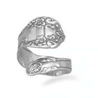 Floral Sterling Spoon Ring