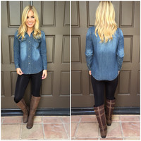 Dark-Wash Chambray Button Up Double Pocket Top