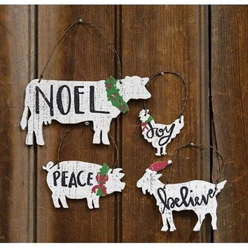 Set of Four Farm Animal Ornaments - Cow Pig Chicken Goat
