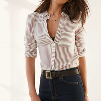 BDG York Button-Down Pink Striped Shirt - Urban Outfitters