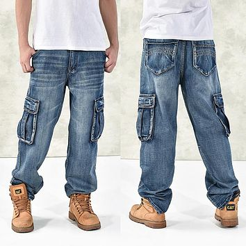 Loose Big Pockets Hip-Hop Jeans ~ Big Man Sizes Available 30-46