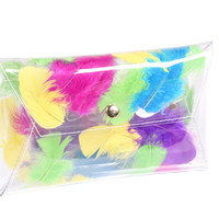 Clear clutch envelope transparent bag with colorfull real feather modern girl woman envelope purse party bag evening bag clear bags clutches