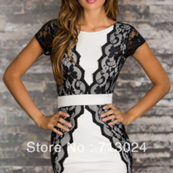 New Fashion Summer Women Sexy White Blue Red Elegant Cocktail Mini Dress with Lace Trim Slimming One piece 2966 Free Shipping-in Dresses from Women's Clothing & Accessories on Aliexpress.com   Alibaba Group