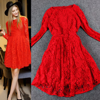 Casual Red Lace Embroidered Long Sleeve Pleated Mini Dress