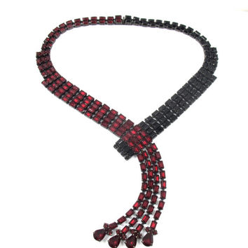 Butler & Wilson Necklace. Crossover Waterfall Dangle Necklace, Red Black Rhinestones. Butler Wilson Jewelry.