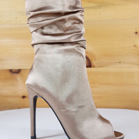 Sevina Taupe Satin Scrunch Top High Heel Ankle Boot