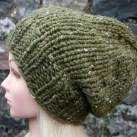 Hand Knit Hat Women's Hat- olive green tweed- Rustic Mega Chunky with wool- slouchy- beanie hat