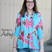 Blue and Fuchsia Floral Print Top with Split Neckline