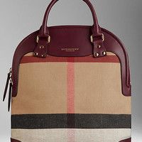 The Medium Bloomsbury in Canvas Check and Leather