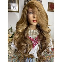 """22"""" MOCHA LATTE' Long curly layered lace front wig + Full bangs! Side parting *Ready to wear"""