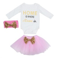 Fashion 3pcs Baby Kids Girls Clothing Letter Printing Romper+Skirt+Headband Outfits Cotton Baby Girl Clothes Set