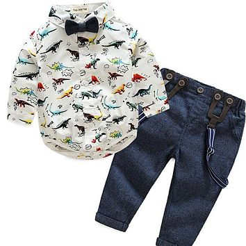 Baby Boy Dinosaur Collard Shirt with Bow Tie Pants with Suspenders