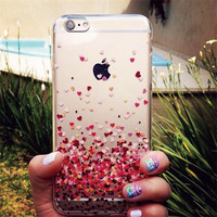 Charming Clear Fly loving Heart Pattern Transparent Skin Back Cover For iphone 6 6s Plus Rainbow Butterfly Print Phone Case