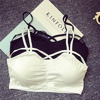 Sexy Girl Women Push Up Bra Cut Out Bra Bustier Crop Top Bralette strappy Crop Top With Cups Blouses Seamless Underwear
