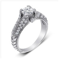 Sterling Silver 1 carat Round Cut CZ Antique Style Engagement Ring size 5-9