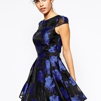 Chi Chi London Printed Organze Prom Dress with Bardot Neck