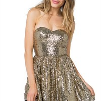 Glamour Sequined Poof Dress