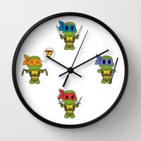 TMNT Chibis Wall Clock by Katie Simpson   Society6