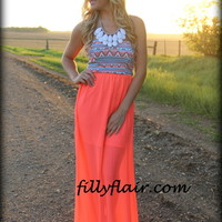 Talk to my tribe neon maxi dress - Filly Flair