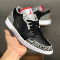 Air Jordan 1 Phat Low AJ 1 Black Cement Sneakers - Best Deal Online