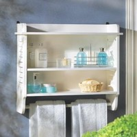 Nantucket Bathroom Louvered Wall Shelf