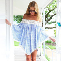 Off-Shoulder Lace Pleated Asymmetric Mini Dress