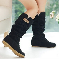 Plus Size Eu34-43 Inner Wedges Plicated Lace Edge Women's Fashion Black Flat Bottom Mid-Calf Boots Woolen warm Winter Shoes = 1919926788