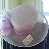 NEW Jacques Vert Sinamay Wide Brimmed Hat Church Derby Lavender Feathered Rose
