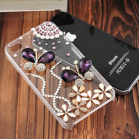 1PC Bling Crystal Butterfly Plastic iPhone 4,4g,4s,5,5c,5s Case Cover Skin Cell Phone Accessary