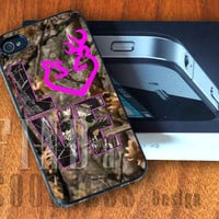 Browning Deer Love Camo  - Print Custom Case - Rubber or Plastic - iPhone 4 or 4s / 5, Samsung S3 / S4, iPod 4 /5