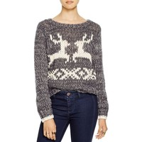 Free People Womens Wool Blend Holiday Pullover Sweater