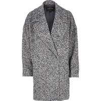 River Island Womens Black tweed oversized coat