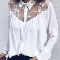 White Patchwork Lace Single Breasted Turndown Collar Long Sleeve Blouse