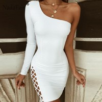 Nadafair One Shoulder Mini Bandage Dress Lace Up Long Sleeve Bodycon Dress Women White Black Red Sexy Party Club Dresses Female