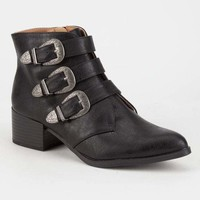 QUPID Western Buckle Womens Booties