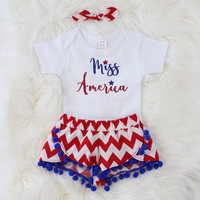 Girls 4th of July Outfit |Miss America Outfit with Red and White Chevron Shorts with Blue Pom Pom Trim, knotted headband Miss America Top