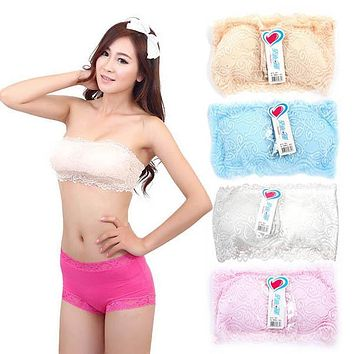 Women Lady Lace Wrap Chest Cropped Top Strapless Padded Bra Bras Underwear