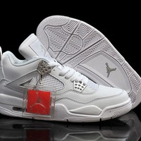Air Jordan 4 Girls All White/metallic Silver Womens Jordan 4 All White - Beauty Ticks