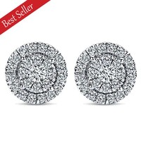 Gabriel Pave Set Diamond Halo Round Cluster Earrings