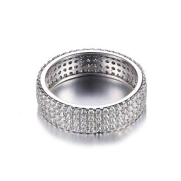 Silver Anniversary Micro Pavé Set Cubic Zirconia Wide Band Ring