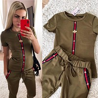 GUCCI Summer Popular Women Casual Short Sleeve Round Collar Top Pants Set Two Piece Sportswear Army Green