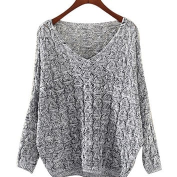 Light Grey V Neck Knit Sweater